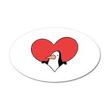 Penguin Valentine 22x14 Oval Wall Peel