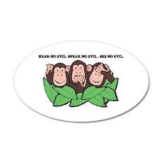 No Evil Monkeys 22x14 Oval Wall Peel