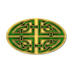 Celtic Green-Gold Knots 38.5 x 24.5 Oval Wall Peel