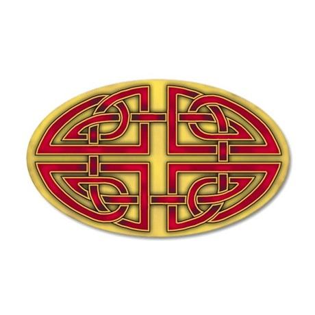 Celtic Red-Gold Knotwork 22x14 Oval Wall Peel