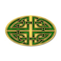 Celtic Green-Gold Knotwork 22x14 Oval Wall Peel