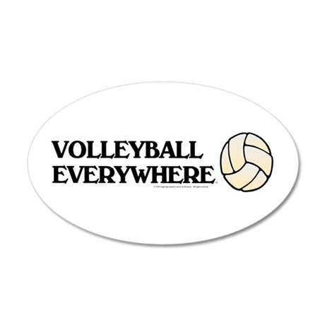 Volleyball Everywhere 38.5 x 24.5 Oval Wall Peel