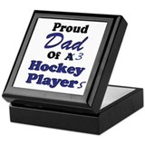 Dad 3 Hockey Players Keepsake Box