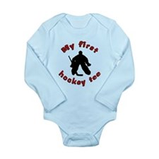 First Hockey Tee (red text) Long Sleeve Infant Bod