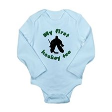First Hockey Tee (green text) Long Sleeve Infant B