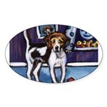 AMERICAN FOXHOUND smiling moo Oval Sticker