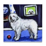 GREAT PYRENEES smiling moon Tile Coaster