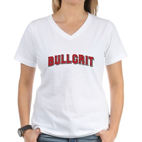 BULLGRIT Women's V-Neck White T-Shirt