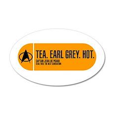 Tea. Earl Grey. Hot. 22x14 Oval Wall Peel