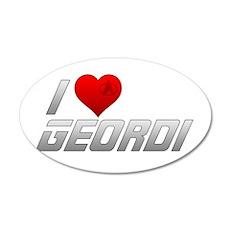 I Heart Geordi 38.5 x 24.5 Oval Wall Peel