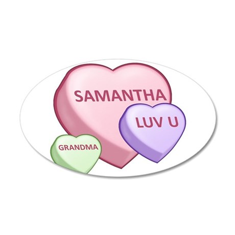 Samantha Candy Hearts 38.5 x 24.5 Oval Wall Peel