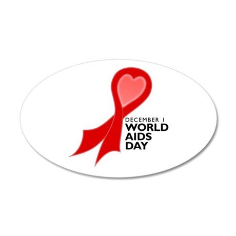 World AIDS Day Red Ribbon 38.5 x 24.5 Oval Wall Pe