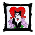 Cheesy Cat Valentine Throw Pillow