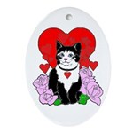 Cheesy Cat Valentine Ornament (Oval)