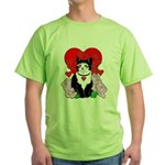 Cheesy Cat Valentine Green T-Shirt