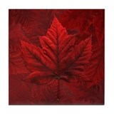 Red Canadian Maple Leaf Tile Coaster