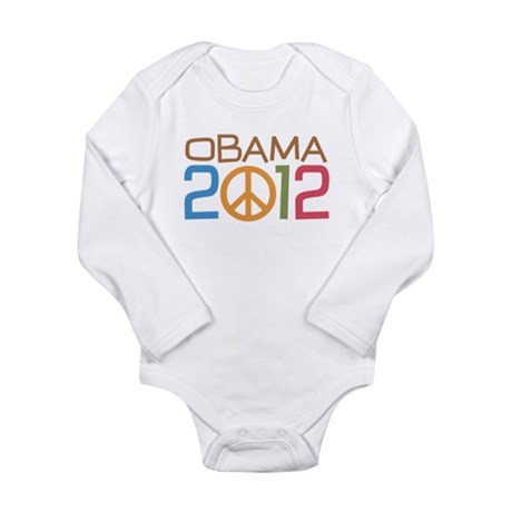 Obama 2012 Peace Long Sleeve Infant Bodysuit