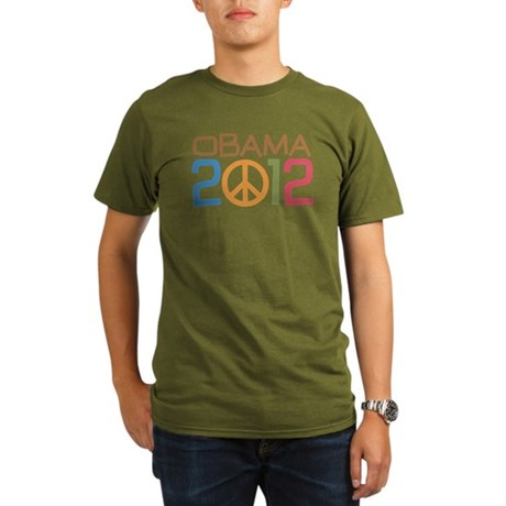 Obama 2012 Peace Organic Men's T-Shirt (dark)