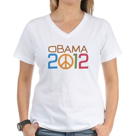 Obama 2012 Peace Women's V-Neck T-Shirt