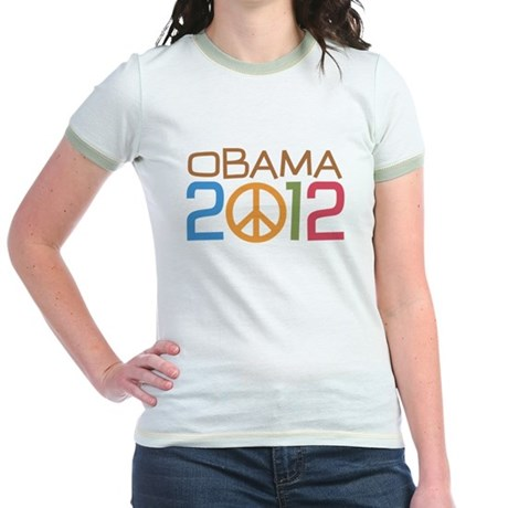 Obama 2012 Peace Jr. Ringer T-Shirt