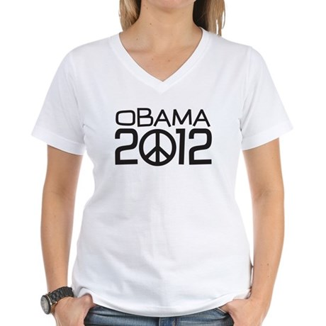 Peace Sign Obama Women's V-Neck T-Shirt
