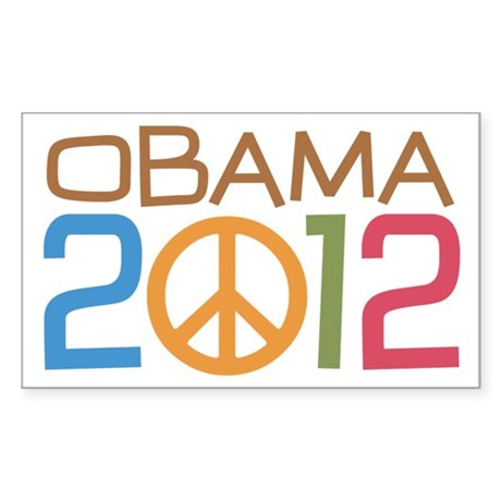 Obama 2012 Peace Sticker (Rectangle)