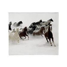 Running Horses Throw Blanket
