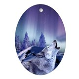 Winter Wolf Ornament (Oval)