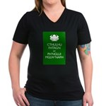 Keep Calm Cthulhu Women's V-Neck Dark T-Shirt