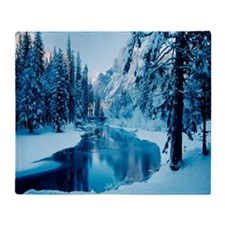 Winter Mountain Scenery Throw Blanket
