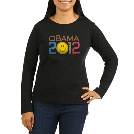 Obama 2012 Smile Women's Long Sleeve Dark T-Shirt