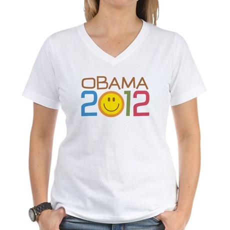 Obama 2012 Smile Women's V-Neck T-Shirt