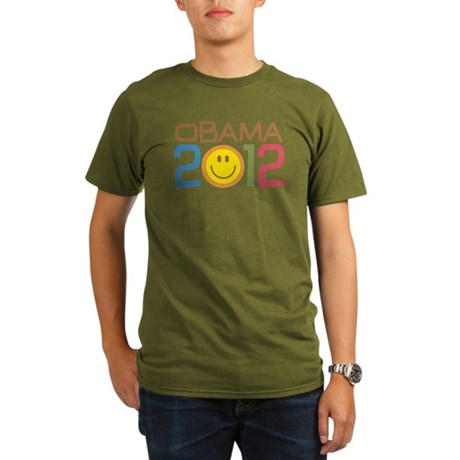 Obama 2012 Smile Organic Men's T-Shirt (dark)
