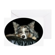 Blue Merle on Sofa Greeting Card