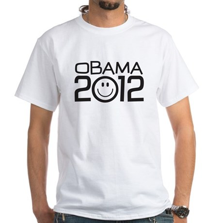 Smiley Face Obama White T-Shirt