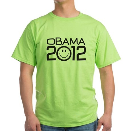 Smiley Face Obama Green T-Shirt