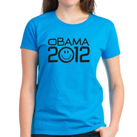 Smiley Face Obama Women's Dark T-Shirt