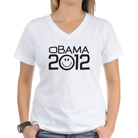 Smiley Face Obama Women's V-Neck T-Shirt
