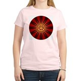 Peace Rays Circle Women's Pink T-Shirt