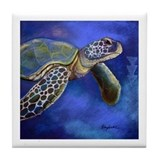 Sea Turtle Blues Tile Coaster