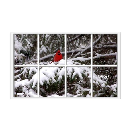 Snowy Cardinal Window 38.5 x 24.5 Wall Peel