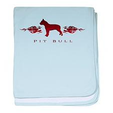 Pit Bull Flames baby blanket