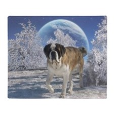 Saint Bernard in Winter Throw Blanket