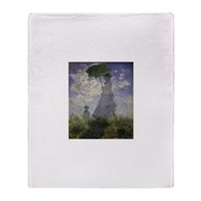 Claude Monet Woman w Parasol Throw Blanket
