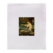 Mermaid by JW Waterhouse Throw Blanket