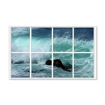 Pacific Ocean Wave Window 22x14 Wall Peel