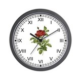 Provencal Red Rose Wall Clock