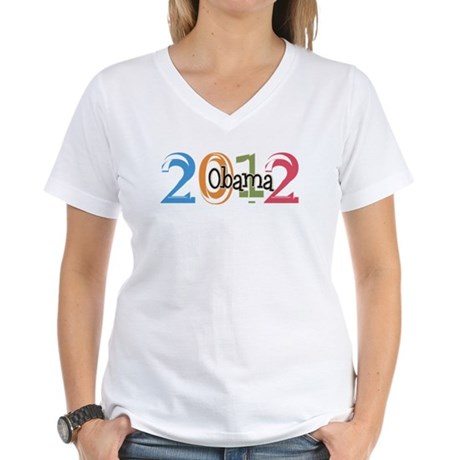 Obama 2012 Graphic Women's V-Neck T-Shirt
