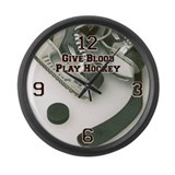 Give Blood, Play Hockey Large Wall Clock