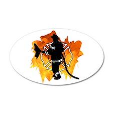 Firefighter Flames 38.5 x 24.5 Oval Wall Peel